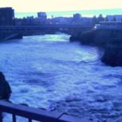 Bluish photo of the falls.