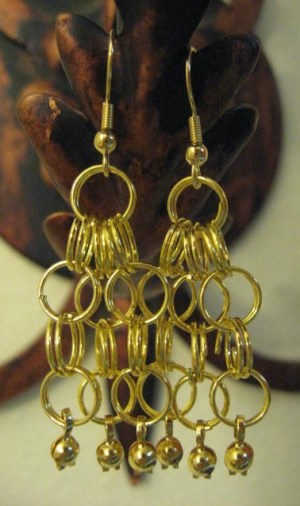Finished earrings with dangels added.