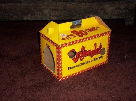 Food take away box recycled as kitten toy.
