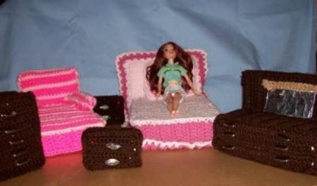 Barbie's Crocheted Bedroom Set -Complete bedroom suite.