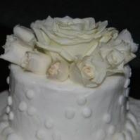 Closeup of a wedding cake top layer.