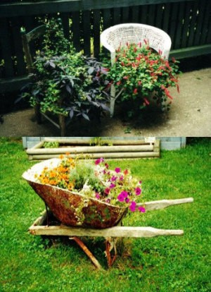 Wheelbarrow Filled with Flowers