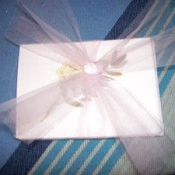 Finished card with tulle decorative bow.