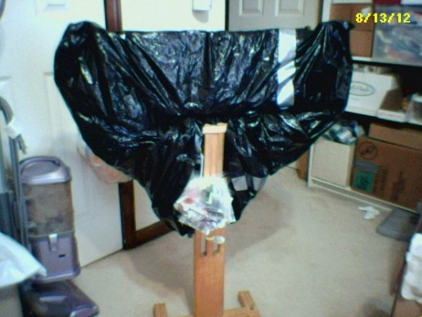Project wrapped in black plastic bags.