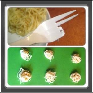 Forming spaghetti balls.