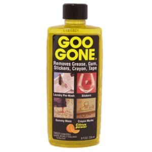 A bottle of Goo Gone, great for removing stickers from plastic.