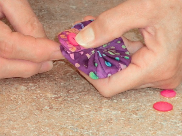 Step 1 for pink and purple barrette.