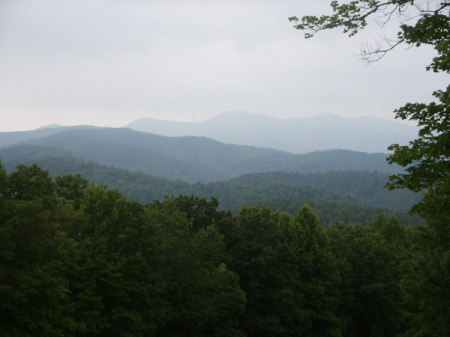 Beautiful view of tree covered mountains stretching into the distance.