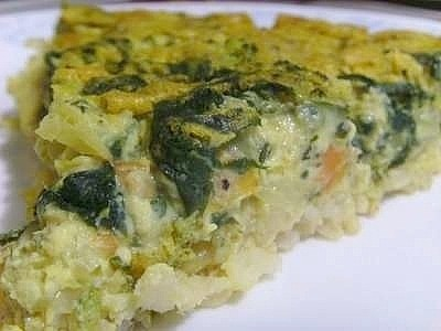 A quiche made with a brown rice crust.