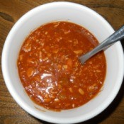 Bowl of turkey chili.