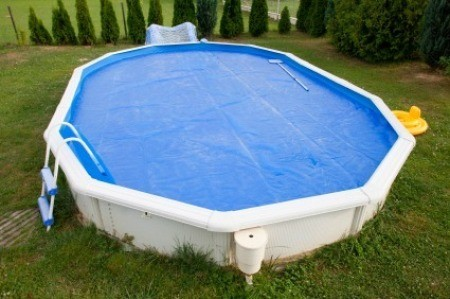 Cloudy water in an above ground pool.