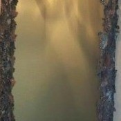 Framed mirror covered with pieces of tree bark.
