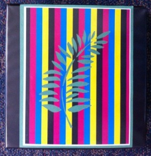 Front of binder with a striped paper insert, with decorative leaf motif in center.