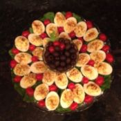 A nicely displayed plate of deviled eggs.