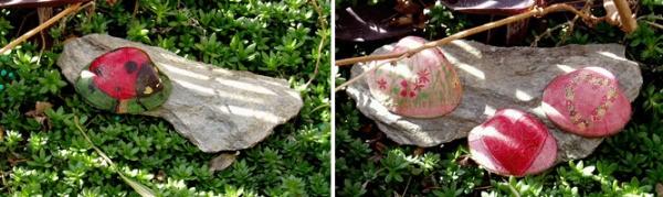 Decoupaged shells in the garden.