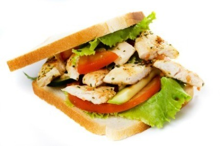 Chicken Sandwich on White Background