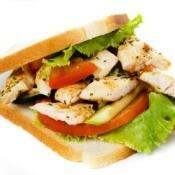 Chicken Sandwich on White Background