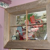 Window frame built around photo.