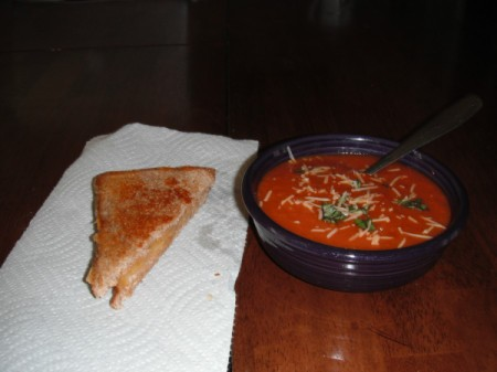 Basil tomato soup with grilled cheese