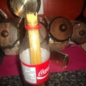 2-liter bottle holding pasta