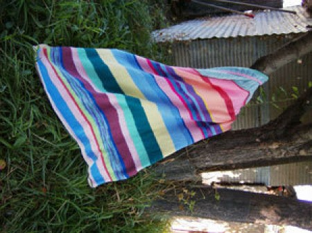 Striped knitted throw.