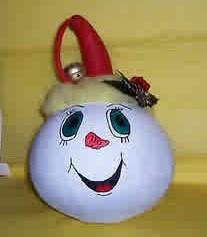 A snowman gourd ornament.