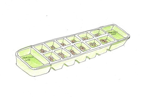 Mancala game board from an egg carton