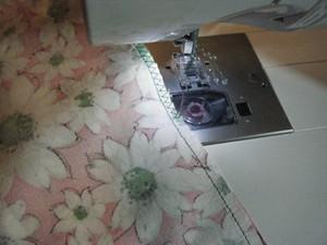 Sewing seams.