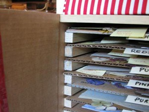 Shelves in box.