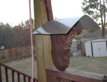 A birdhouse made from a shoe