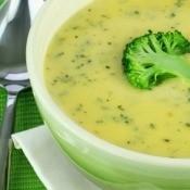 Cream of Broccoli Soup in White Bowl