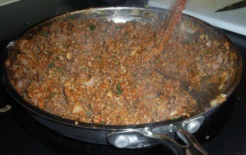 $10 Dinners: Soft Tacos - A pan of cooked ground beef for taco meat.
