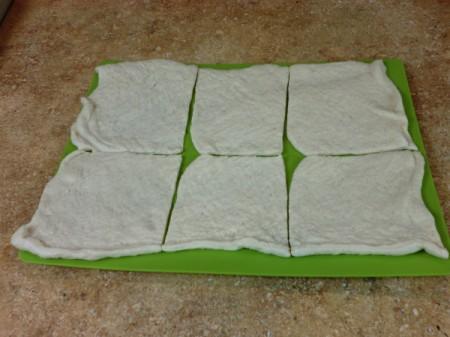 cut dough sections