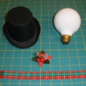 Vanity Lightbulb Snowman - supplies