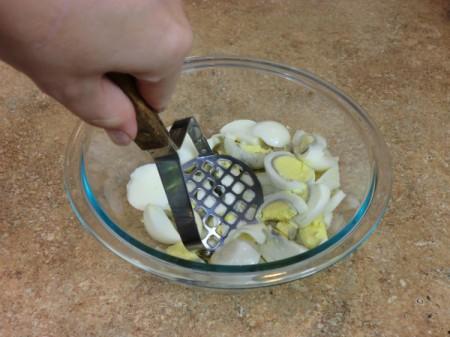 Mashing Eggs for Egg Salad Sandwiches