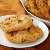 Peanut Butter Chocolate Chip Cookies on a Plate