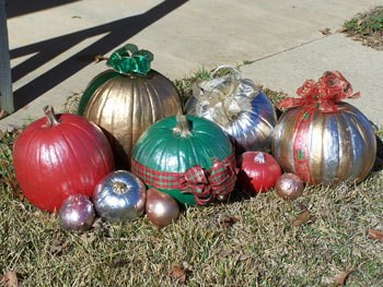 Painted and decorated pumpkins and squash.