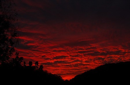 Sunset over hills.