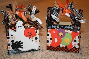 Decorated Halloween themed boxes.