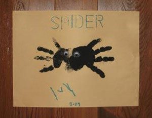 Spider made from child's handprints.