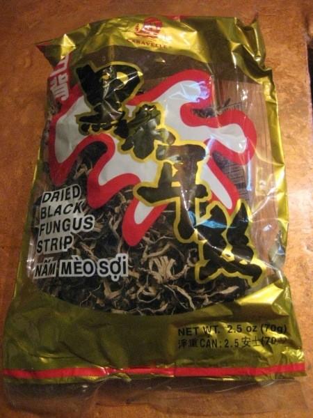 Bag of dried black mushrooms.