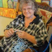 Sandi crocheting a chain for Food by the Foot