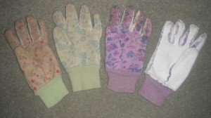 Garden gloves with left turned inside out to make a right.