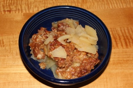 Bowl of Homeycrisp apple crisp.