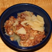 Bowl of Homeycrisp apple crisp.