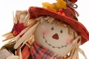 Photo of a handmade Thanksgiving scarecrow.