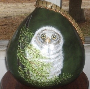Owl Painted Gourd