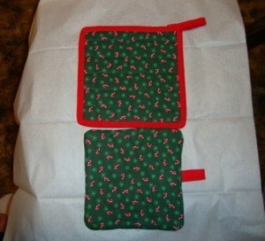 Christmas fabric hot pads.