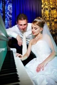 Bride and Groom Planning Wedding Music