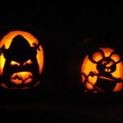 Carved and lighted pumpkins